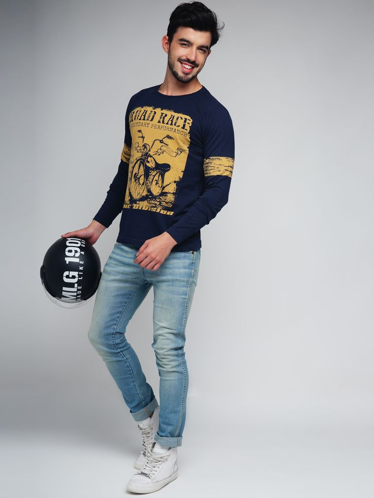 Difference of Opinion #Navy #Printed #Tshirt #men #fashion #style