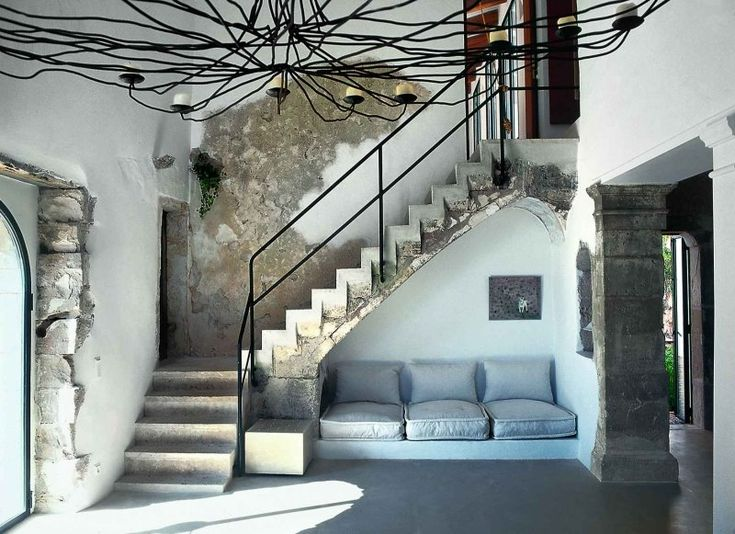 I love all the gray concrete - looking rustic everywhere, but the lovely seating area - just lovely