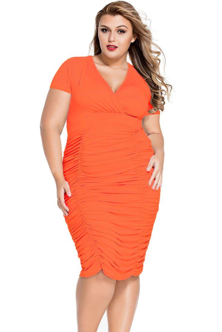 Orange Pleated Midi Dress MAVERLLY