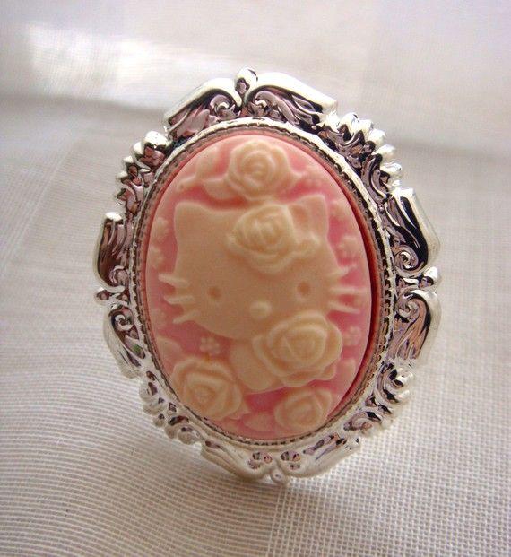 #hellokitty #sanrio #cameo #ring #pink #silver