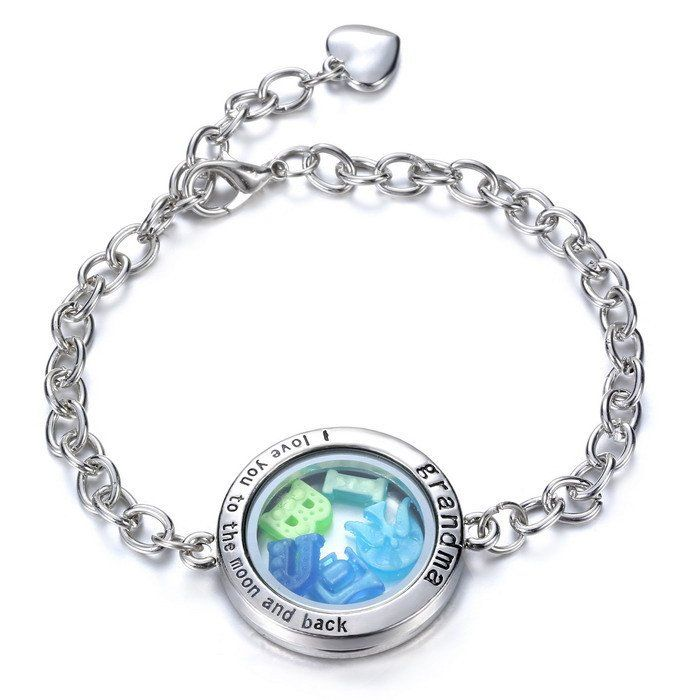 Grandma Floating Charm Bracelet With 50 Pieces Glow In The Dark Charms