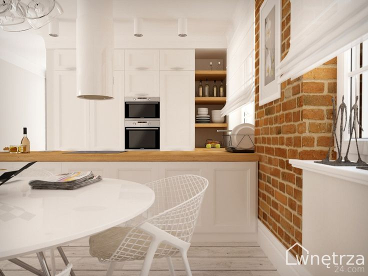 biała kuchnia drewniany blat  Szukaj w Google  Kuchnia   -> Kuchnia Nowoczesna I Praktyczna
