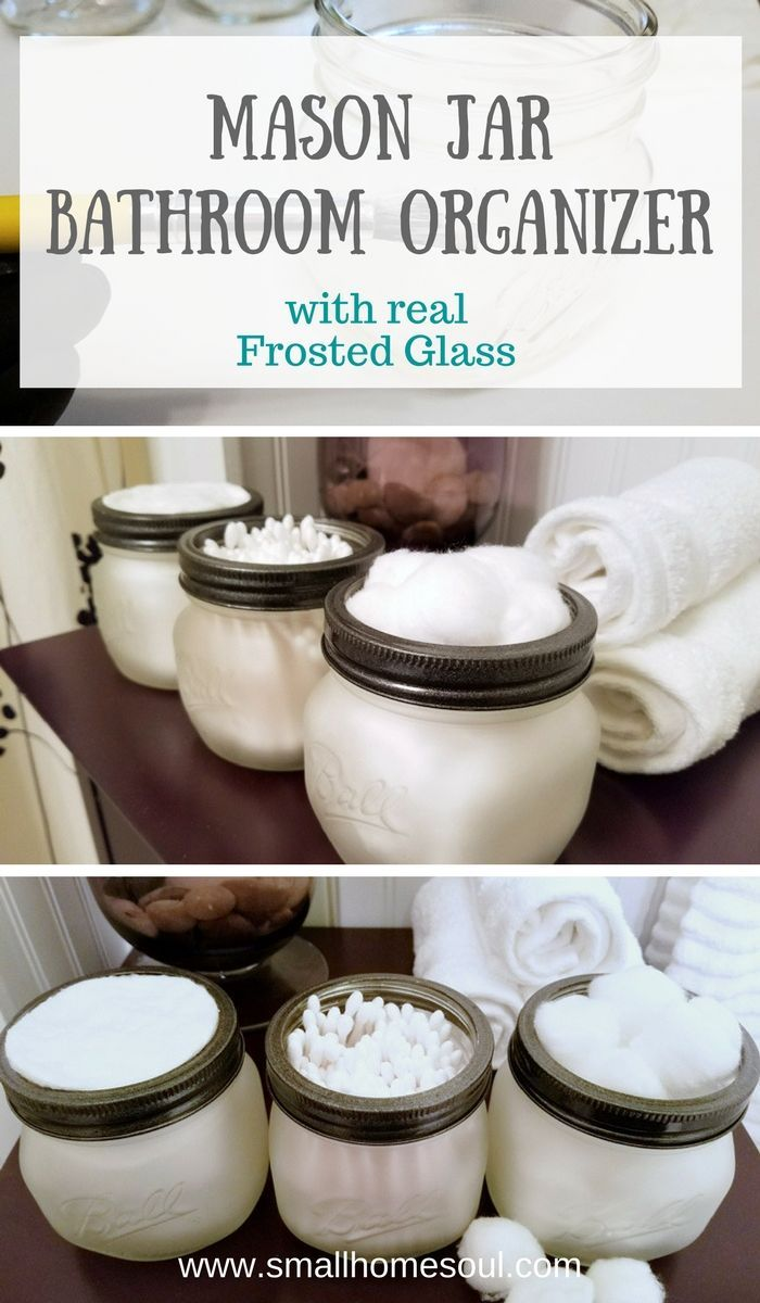 Use etching cream to make a beautiful mason jar bathroom organizer. They are beautiful for any bathroom decor or decorating style.