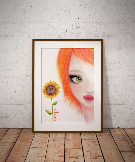 Sun Flower Digital art Wall Decor Wall Art Orange decor