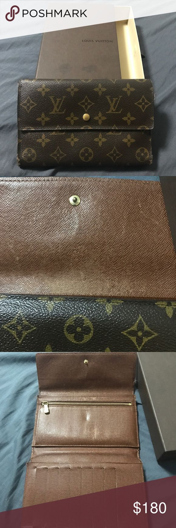 💯Authentic Louis Vuitton Monogram trifold Authentic Louis Vuitton Monogram trifold. definitely pre-loved. Shows wear on exterior canvas on corners (pls look at pictures) loose threading on corners & fading interior. Still has plenty of life left in her 😍. Comes with LV box. Louis Vuitton Bags Wallets
