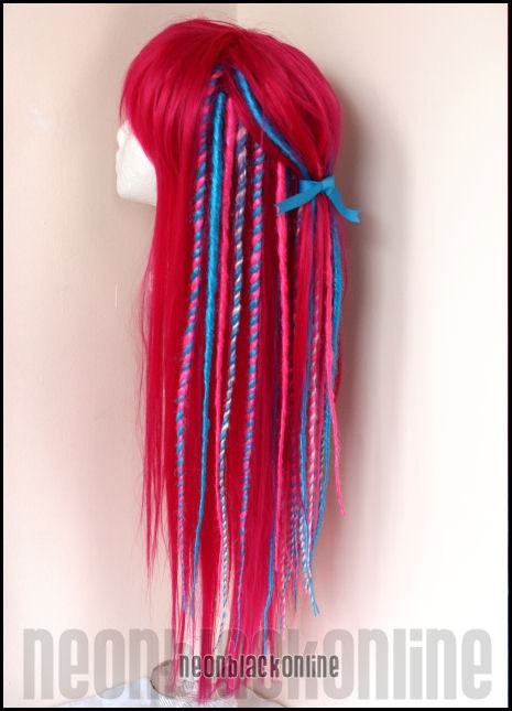 Pink and turquoise dread wig - long synthetic dreadlock wig - Ready made. £120.00, via Etsy.