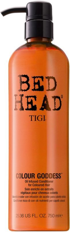 This conditioner is amazing for color treated hair and it smells like CUPCAKES!!!  Tigi Bed Head Colour Goddess Oil Infused Conditioner
