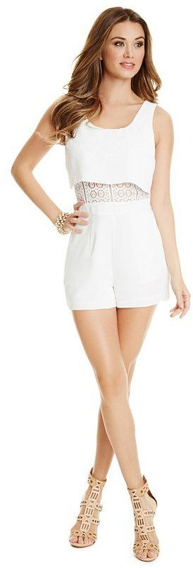 $158, White Crochet Playsuit: GUESS by Marciano Masari Romper. Sold by GUESS. Click for more info: https://lookastic.com/women/shop_items/277262/redirect