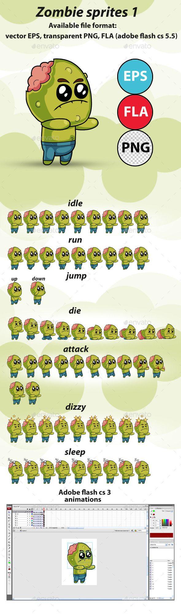 Zombie - Game Sprites 1 - Sprites Game Assets