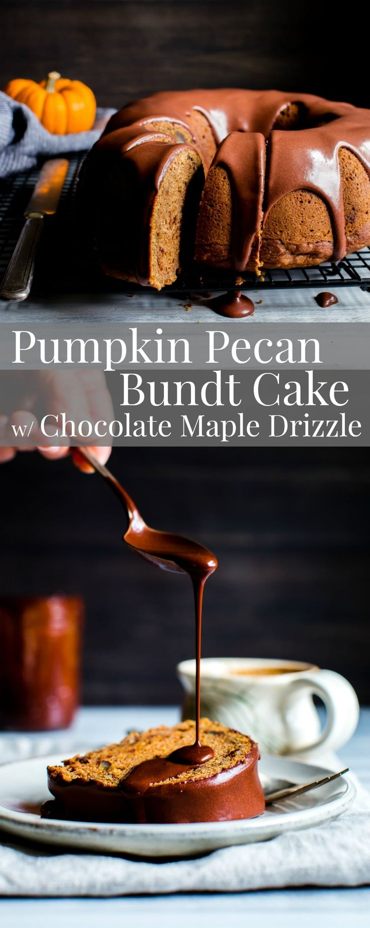 A tender moist crumb with a touch of chocolate, Pumpkin Pecan Bundt Cake with Chocolate Maple Drizzle is a crowd pleaser! vegan, dairy free, egg free