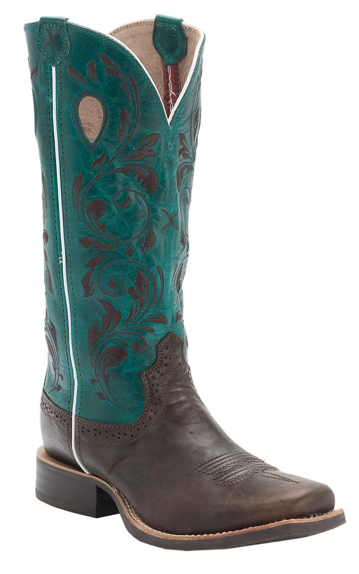 Twisted X® Women's Chocolate w/Dark Teal Top & Embroidery Double Welt Square Toe Western Boots