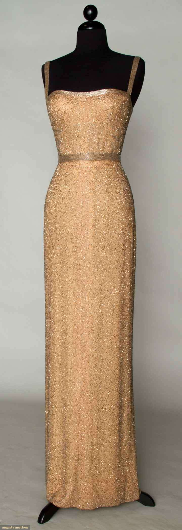 White and Gold Wedding. Gold Bridesmaid Dress. Elegant and Glamorous. All-over Beaded Evening Gown, 1960,