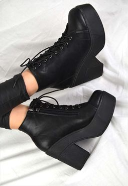POPPY Chunky Heel Platform Grip Zip Buckle Ankle Boots Shoes
