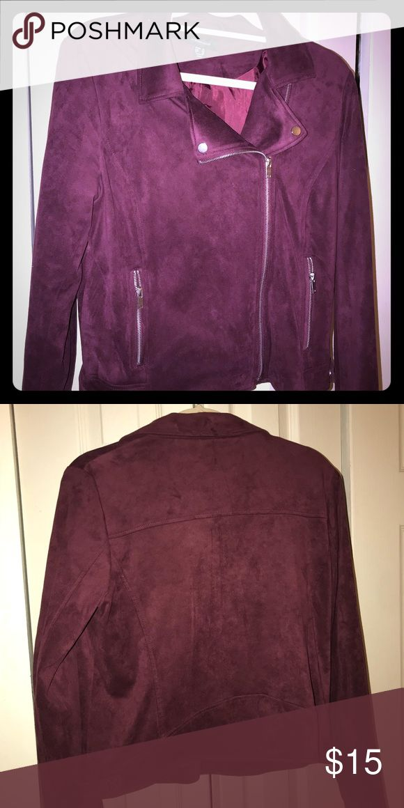 Suede burgundy jacket only worn once ! One of the softest jackets I've ever owned. Perfectly warm and soft burgundy jacket. Made of 94% Polyester and 6% elastane. primark Jackets & Coats Jean Jackets