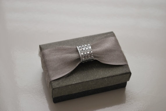 Wedding / Event Favor Box Charcoal Grey with Silver Satin Ribbon by voilafavors, $3.00