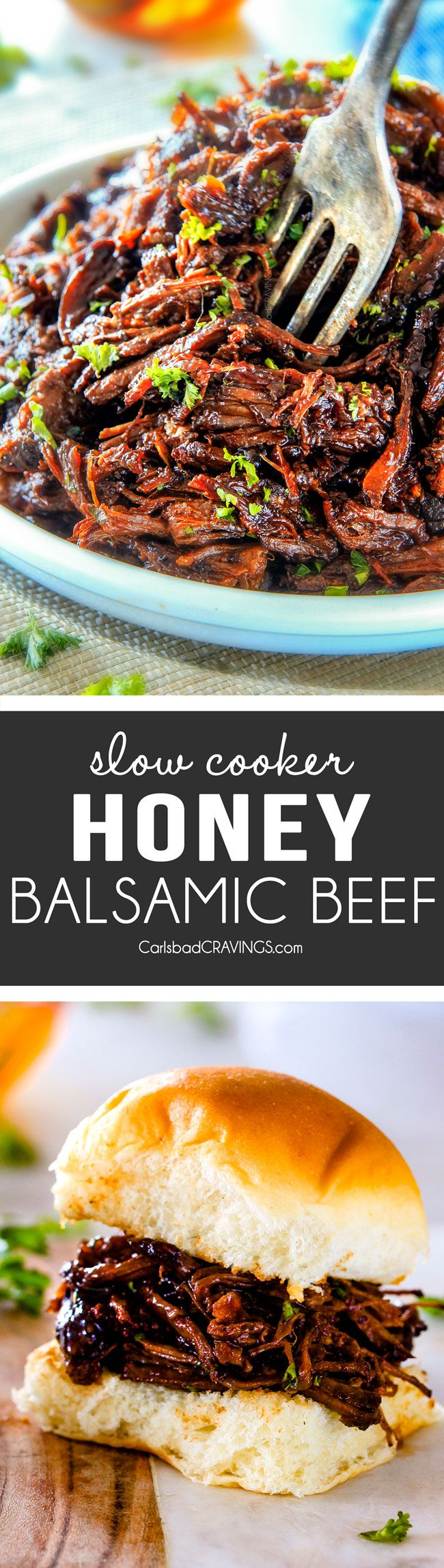 Sweet and tangy, savory Slow Cooker Honey Balsamic Beef is fall apart tender, crazy juicy, packed with flavor and smothered in AMAZING honey balsamic sauce!