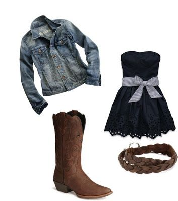Women's outfits. Women's fashion. Women's clothes. Spring. Summer. Jean jacket. Cowgirl boots. Cowboy boots. Dress. Black.