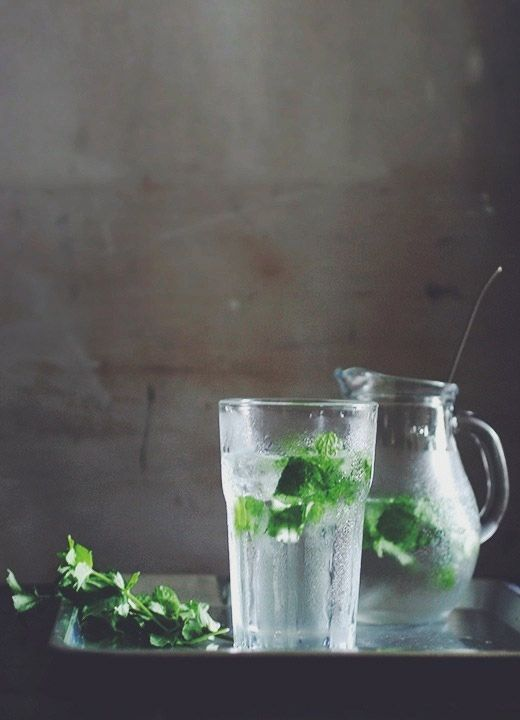 Mint and water.