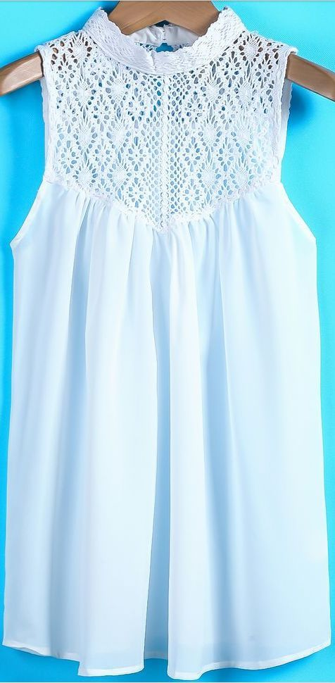 """crochet yoke blouse [   """" SheIn offers White Contrast Lace Sleeveless Chiffon Blouse & more to fit your fashionable needs."""" ] #<br/> # #Crochet #Yoke,<br/> # #Crochet #Blouse,<br/> # #Upcycle,<br/> # #Tissue,<br/> # #Shirts,<br/> # #Crochet,<br/> # #Screen,<br/> # #Summer<br/>"""