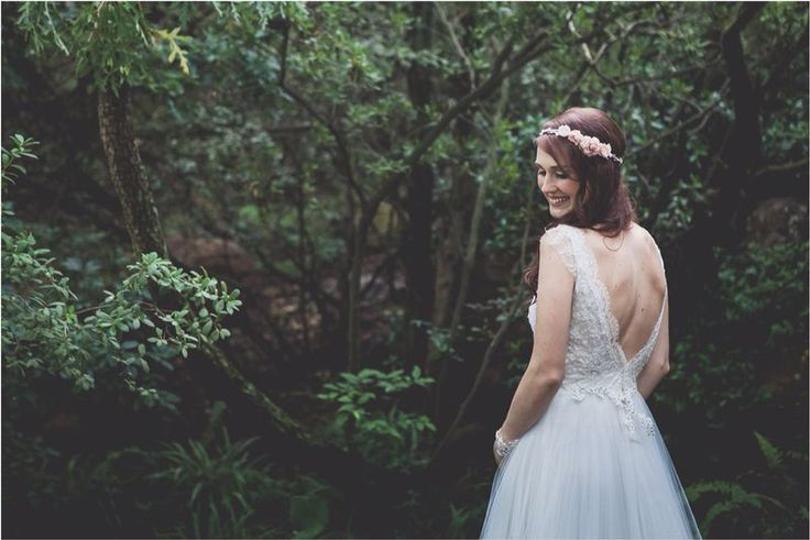 A fairy in the forest! Tanja looked beautiful and whimsical in her Joss Bridal original.