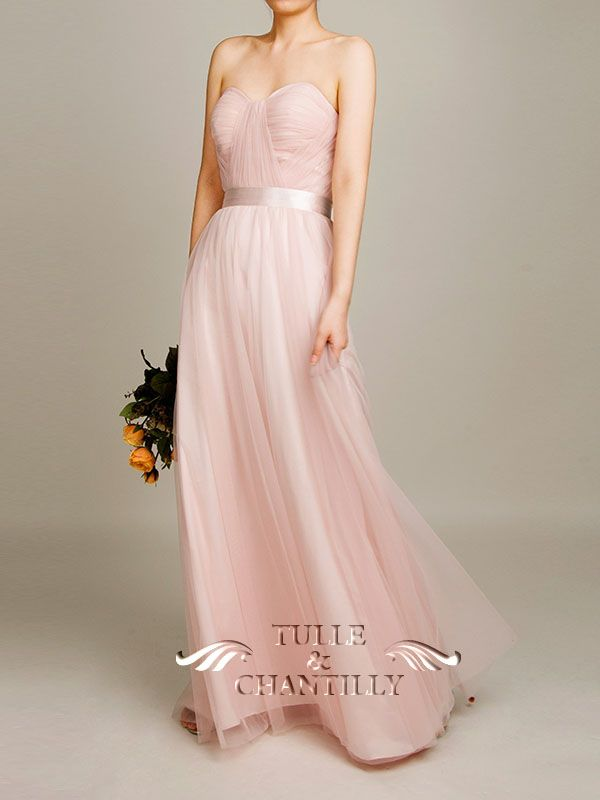 Floor Length Sheer Flowy Tulle Pastel Pink Bridesmaid Dresses 2