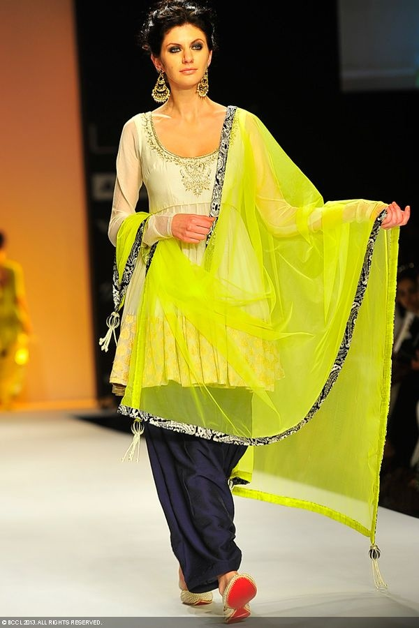 Olga Torovik walks the ramp for designer Payal Singhal http://www.payalsinghal.com/ @ Lakme Fashion Week, Summer - Resort, 2013