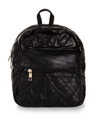 An urban nod to Chanel: the Black Quilted Zip Front Backpack.