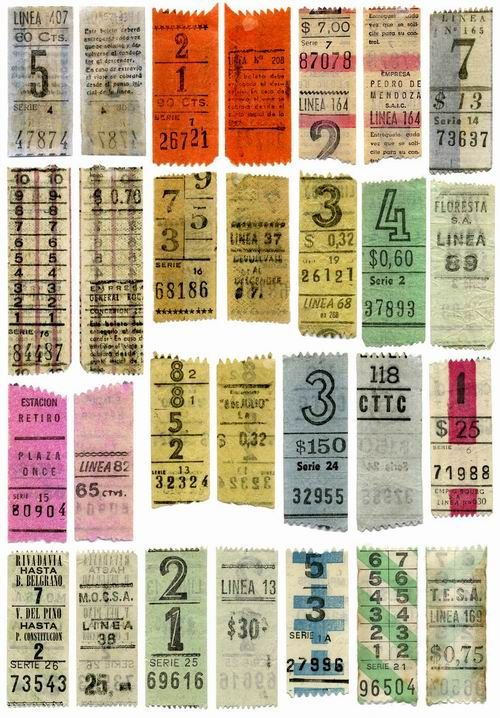 Boletos de unos colectivos de Buenos Aires. These are bus tickets from  yesteryear.  They have long gone away.