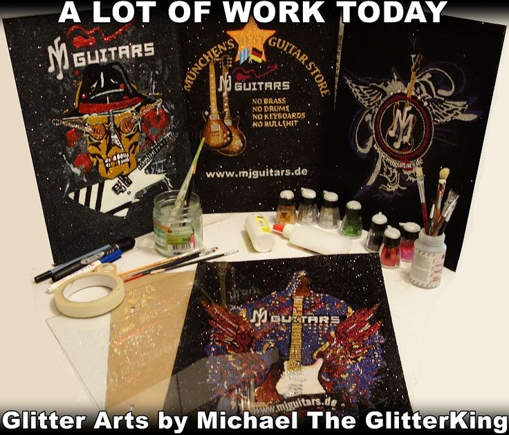 MJ Guitars Glam Pictures hand painted with glitter by Michael The GlitterKing. MJ Guitars by Matthias Jabs of The Scorpions