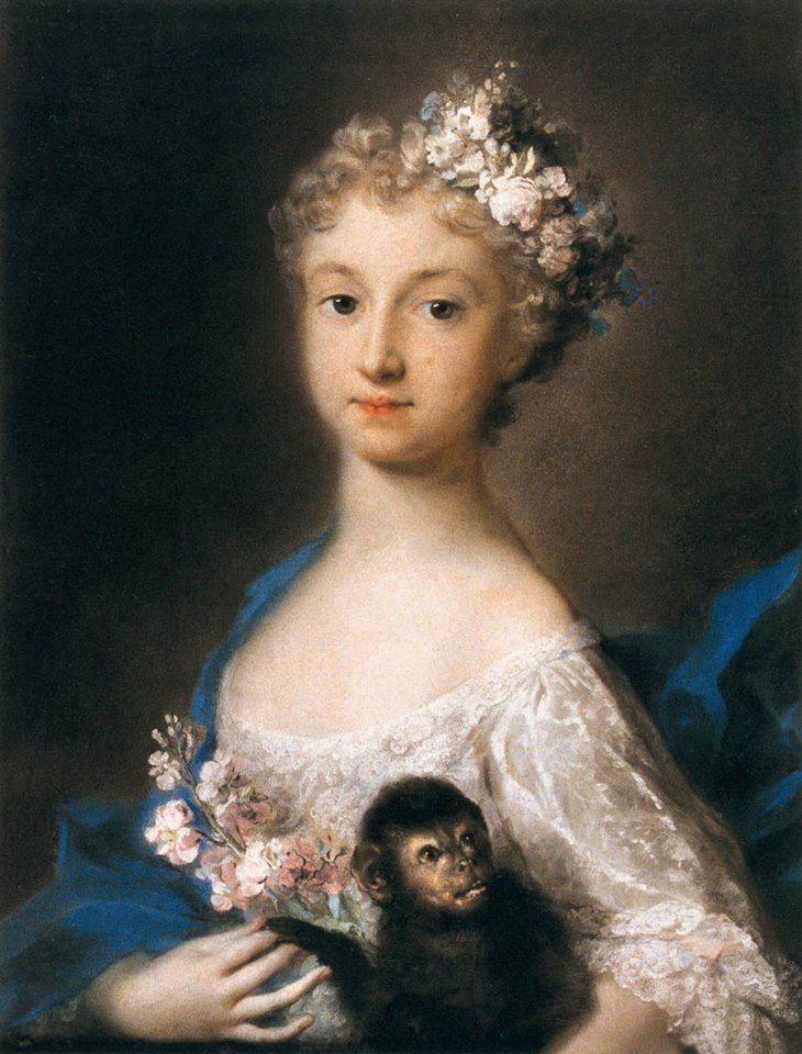 Questa ragazza con una scimmietta è stata realizzata da Rosalba Carriera circa nel 1721 ed è un'opera conservata al Louvre. La nostra puntata dedicata a Rosalba Carriera: http://www.finestresullarte.info/Puntate/2012/18-rosalba-carriera.php