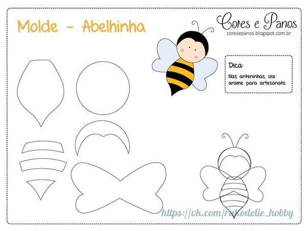 Materiales gráficos Gaby: Muñecos abeja de fieltro con patrones