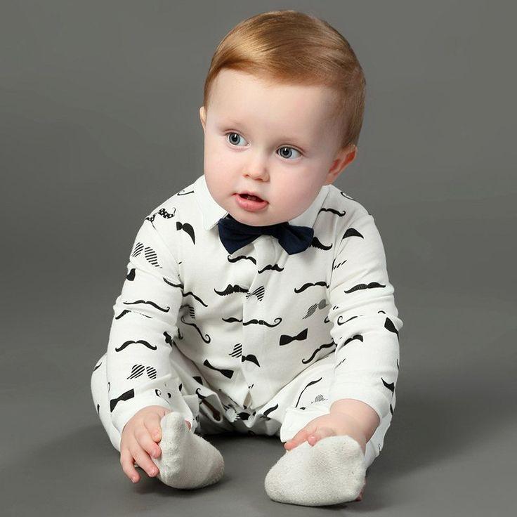 Handsome Baby Rompers Infant Newborn 0-18M Bow Romper Cotton Tie Jumpsuit Gentleman Body Suit Baby Boys Clothing