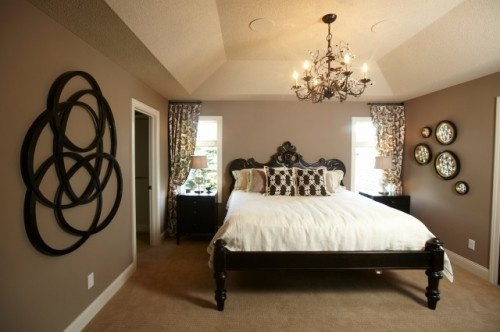 Brown taupe black bedroom love black and white for Black white taupe bedroom