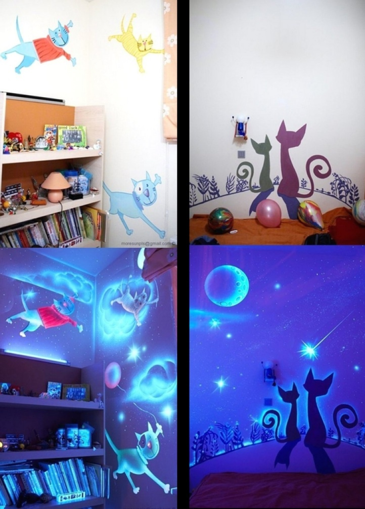 OMG! I WANT TO DO THIS TO MY DAUGHTERS ROOM! glow in the dark bedroom for children
