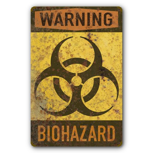 Biohazard Warning Biological Hazard Symbol Rust FX Tin Metal Sign :: 11.5 x 17.5 inches