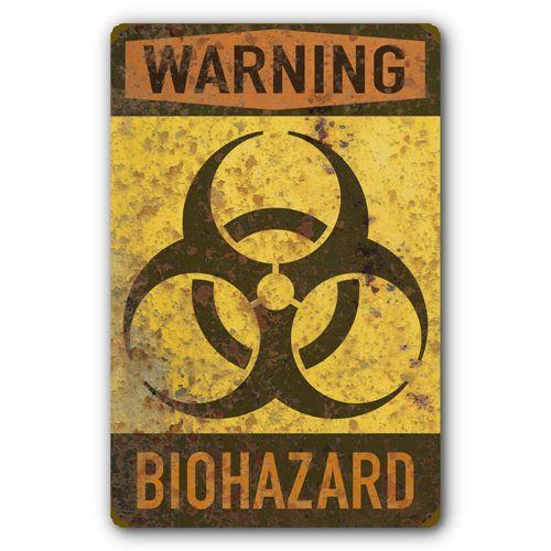 Biohazard Warning Biological Hazard Symbol Rust FX Tin Metal Sign :: 11.5 x 17.5 inches