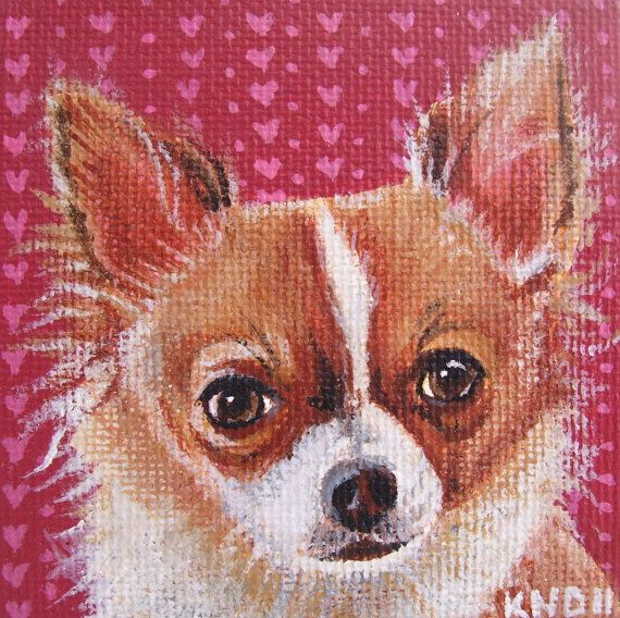Chihuahua Miniature Painting with Easel by aBrushWithLove