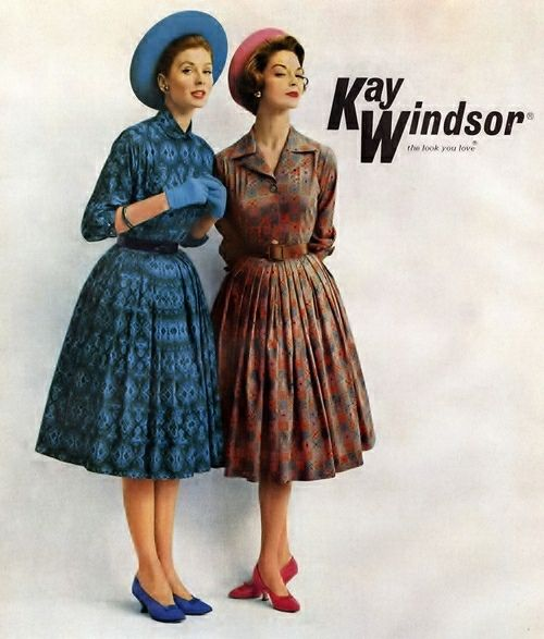 Suzy Parker (L) and Jean Patchett (R) for Kay Windsor, 1959.