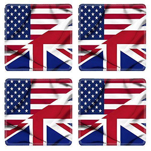 Liili natural rubber Square Coasters IMAGE ID: 19305815 United States of America and United Kingdom waving flag