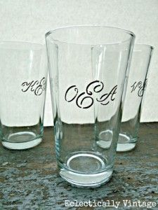 Dollar Store DIY Monogrammed Drinking Glasses - Eclectically Vintage