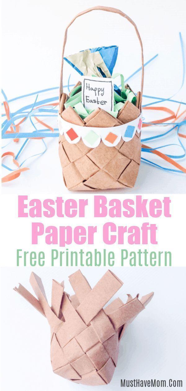 Kinder Papier Weben Ostern Korb Handwerk mit kostenloser Vorlage!  #handwerk #ki…