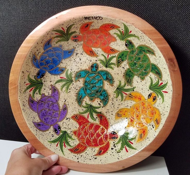 WOOD BOWL /HAND CARVED AND PAINTED SEA TURTLES IN VIBRANT COLORS-MADE IN MEXICO