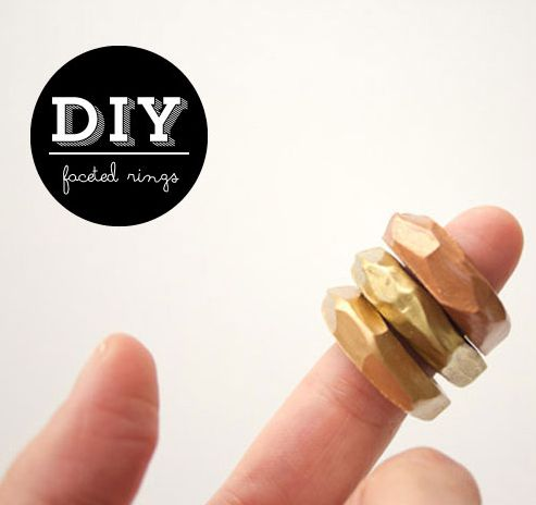 DIY Faceted Clay Rings #clay #DIY #copper #gold #brass #jewelry