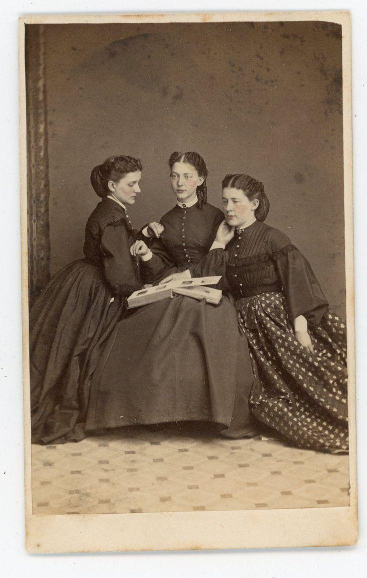 3 Beautiful Ladies Looking At a Photo Album Germantown April 1864 w/stamp | eBay