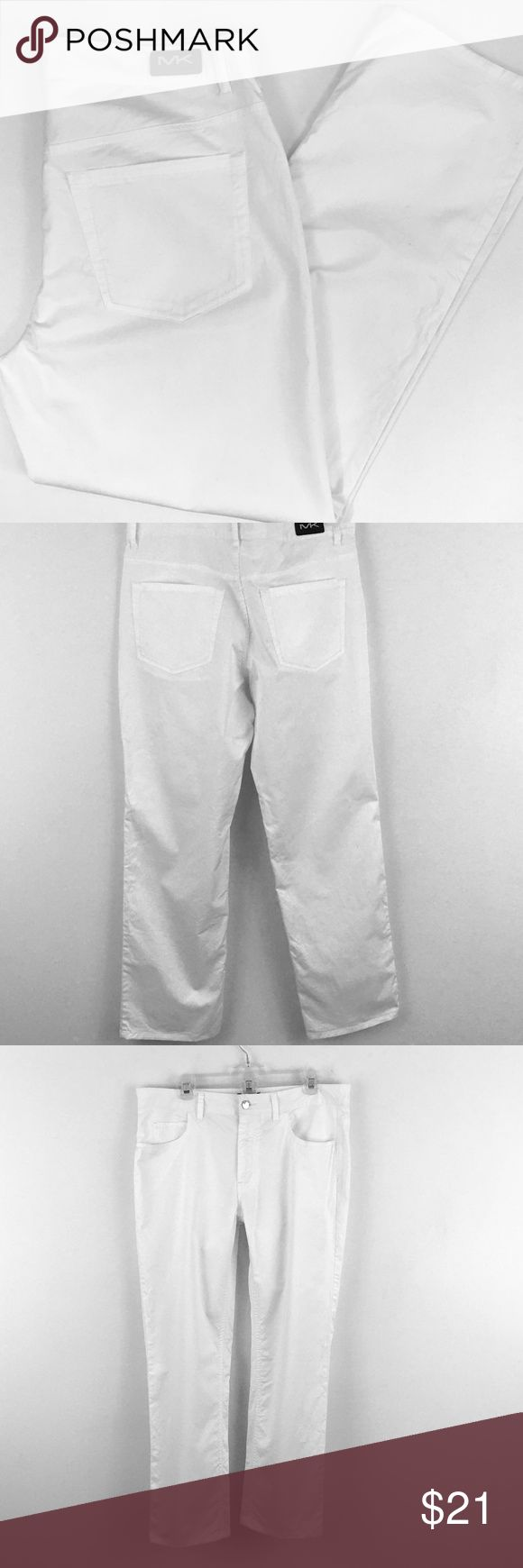 """Michael Kors Mens White Pants Casual White Pants New without tags Michael Kors Men's white casual pants ~ a few marks noted, bottom of both legs have a faint line/crease mark and there's a small (1/8"""") mark on one leg - SEE PHOTOS.    98% Cotton 2% Elastane  These pants are lightweight and thin with a nice amount of stretch  Approximate measurements taken laying flat  Size  34/30 Waist 18"""" Front Rise 10""""  smoke free home Michael Kors Pants"""