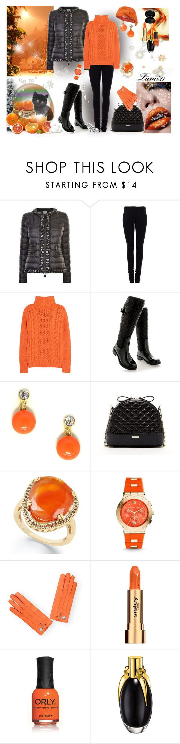 """""""orange winter"""" by lumi-21 ❤ liked on Polyvore featuring Moncler, Givenchy, Joseph, Posh Wellies, Jeweliq, SUSU, Michael Kors, Sisley, ORLY and GAB"""