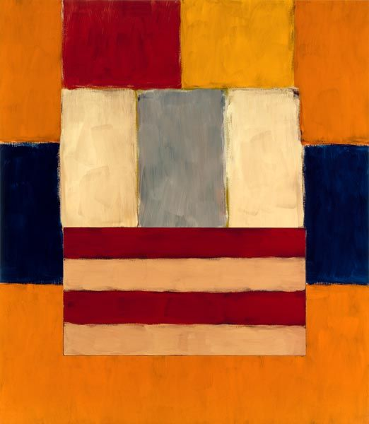 "Figure in Orange, ""Sean Scully's paintings speak eloquently to the history of abstraction, engaging in a passionate conversation with the legacies of Abstract Expressionism and Minimalism while offering new models for the continuing role of nonfigurative art. Scully employs the basic motif of colored blocks arranged horizontally & vertically in elegant, variously interlocking configurations, with a remarkable sensitivity to the interaction of color and light."