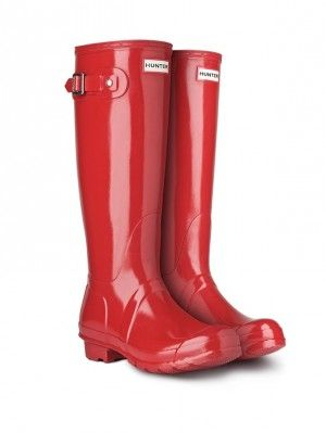 Let it rain men in these military red Original Tall Gloss Rain Boots |  Hunter Boot