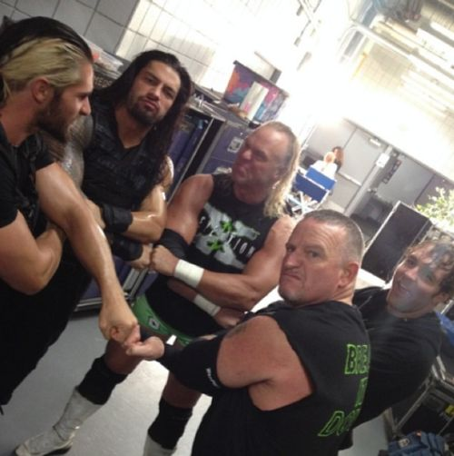 The Shield and The New Age Outlaws Seth Rollins, Roman Reigns, Badass Billy Gunn, Dean Ambrose,  The Road Doad Jessie James