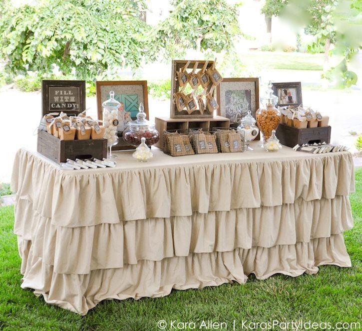 Dessert - candy favor table at a Chalk + Chalkboard and Burlap themed baptism luncheon party via Kara Allen | Kara's Party Ideas | KarasPartyIdeas.com #baptism #ldsbaptism #karaspartyideas_-154